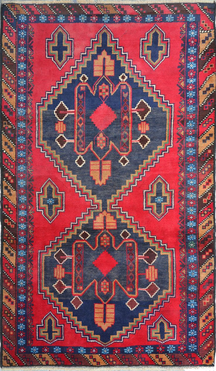 "Red Oriental Tribal Baluchi Rug 3' 7"" x 6' 2"" (ft) - No. 12130  http://alrug.com/red-oriental-tribal-baluchi-rug-3-7-x-6-2-ft-no-12130.html"