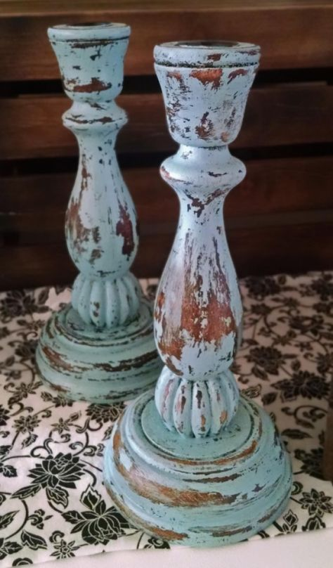 Shabby Chic Aqua Blue Candle Holders. Rustic Chic / Shabby Chic distressed blue wood candlestick pair. Perfect for a rustic wedding, a country event, fireplace mantel, or a gift idea. Could also be a great way to spice up your holiday and Christmas decorations. http://aftcra.com/thegabbychicstudio/listing/6218/shabby-chic-aqua-blue-candle-holders