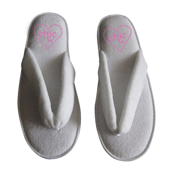 """Slipperflop...Once upon a time a slipper fell in love with a flip flop and created the slipper-flop. 4sparkle slipper flip flop shoe is a comfy soft terry cloth sandal perfect for the beach or around the house. This flip flop style sandal is a great gwp or gift with purchase. Dimensions: 11.02"""" x 4.33"""" x 1.57"""". 5 star rated for peace of mind."""