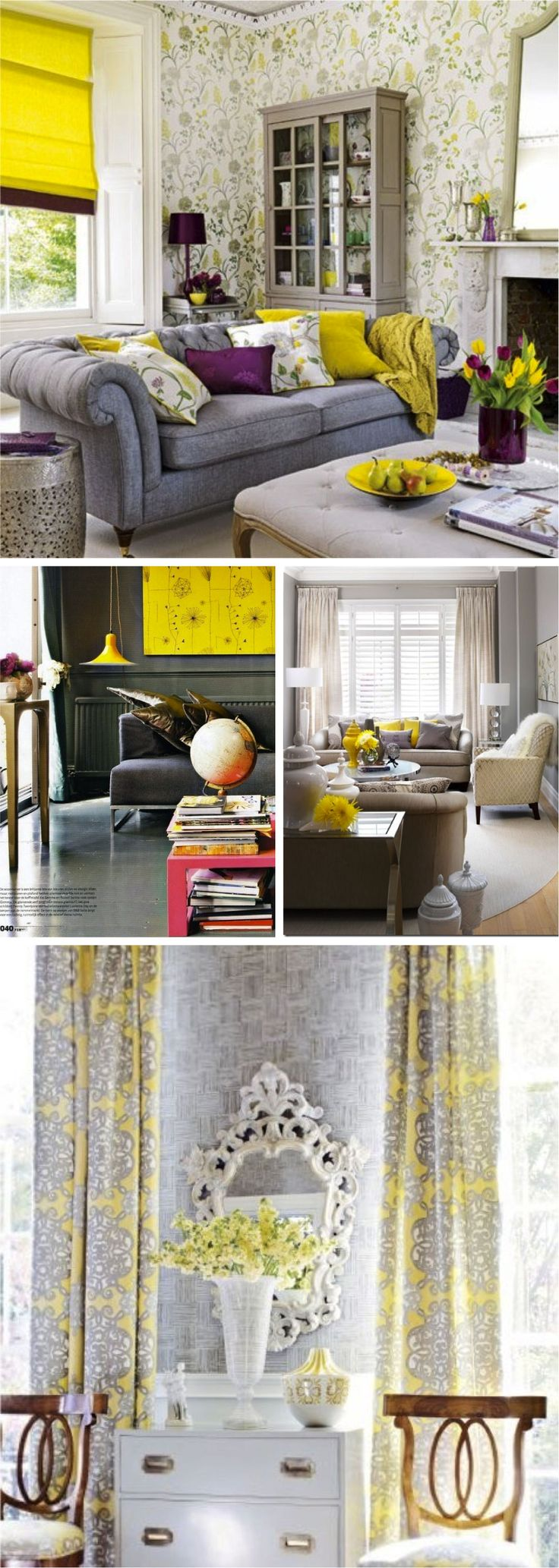 The Sofa And Shade Love These Dark Grey Walls Bright Yellow Accent Wallpaper Draperies In Bottom Gray Decor