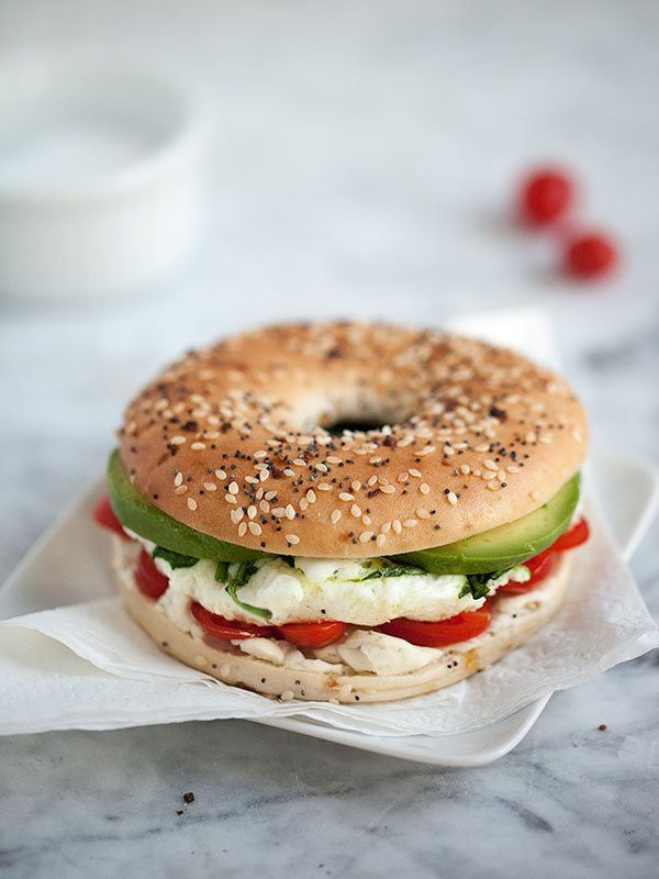 Egg and veggie breakfast sandwich.
