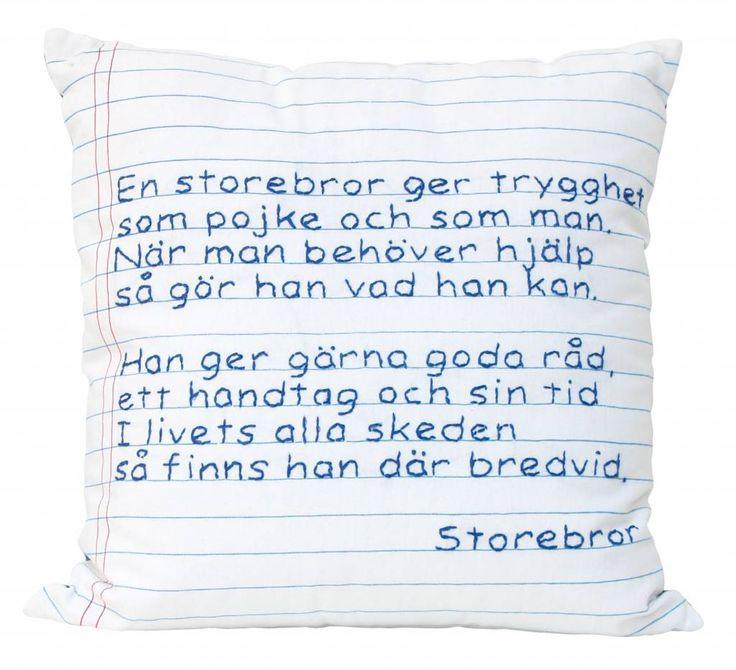 Storebror Sierkussen wit blauw katoen 50x50cm Poem Dikt 1