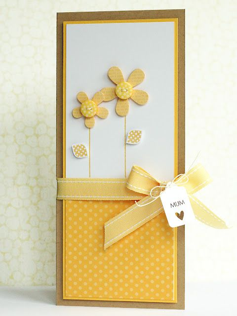 Bright cheery yellow Handmade greeting card