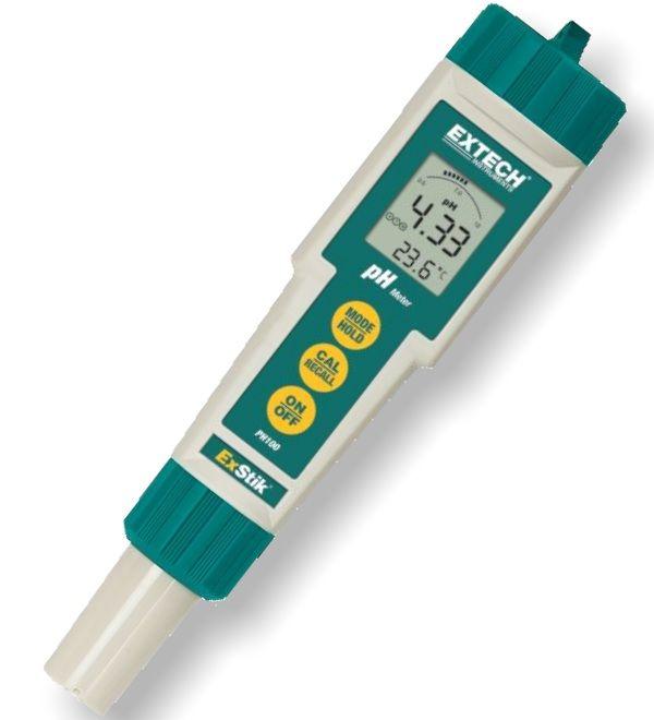 http://www.termometer.se/Stanksaker-pH-matare-IP65.html  Stänksäker pH-mätare (IP57) Exstik - Termometer.se  Idealisk att använda för den som behöver en liten, enkel pH-mätare som ändå ger tillförlitliga resultat. Stor display och vattentålig enligt IP57. Enkel att kalibrera och har temperaturkompensation. Stänger av sig automatiskt efter 10 minuter av overksamhet. Visar när batterierna håller på att ta slut (4xCR3032).   Platt ytelektrod mäter pH i vätska, semi-fasta ämnen, och fasta...