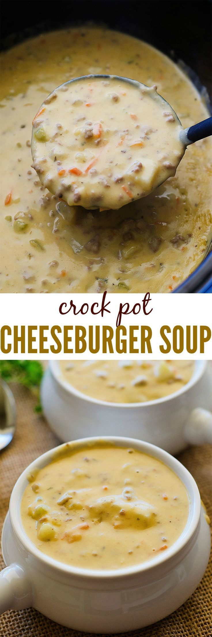 CrockPot_CheeseburgerSoup- for THM, use microwave cauliflower and nuke and pure in food processor before adding to soup.