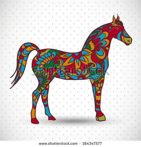 Horse with flowers and ornaments, vector illustration
