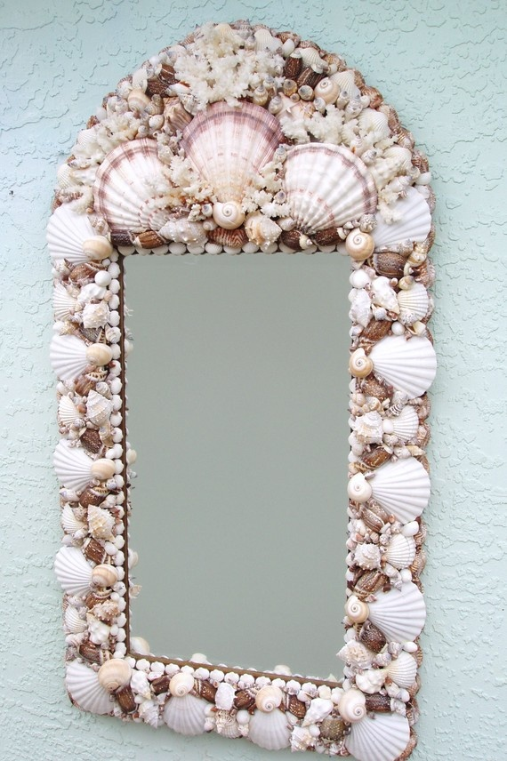 Shell Mirror with Coral by SandisShellscapes on Etsy, $250.00