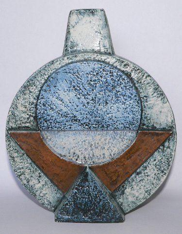Stunning Blue Troika Pottery Medium Wheel Lamp Base