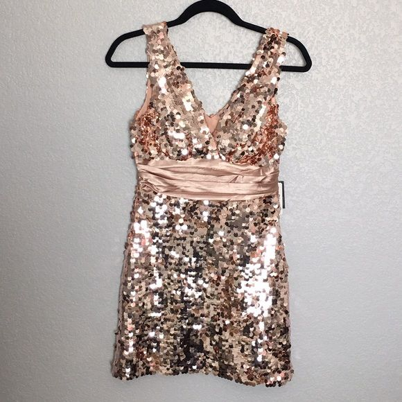 """Champagne Rose Gold Sequin Party Dress NWT Champagne Rose Gold Sequin Embellished Party Dress. Add sparkle to your wardrobe and become the life of the party with this gorgeous attention grabbing dress worthy of Gossip Girl envy . Measures approx. 30"""" length. Condition: NWT. Never worn (didn't fit me, unable to model). Final sale.  ❌NO TRADES ❌No Offsite Transactions ✅ All Price Negotiations are handled strictly through the OFFER Feature Only. Lowball offers will be ignored ✅ BUNDLE TO SAVE…"""