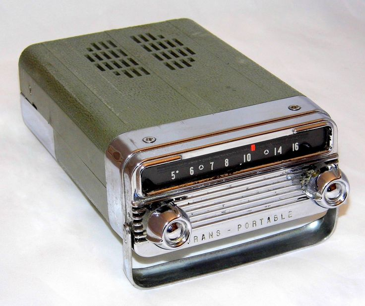 Vintage 1958 Oldsmobile Trans-Portable Car Radio By Delco, AM Band, 10 Transistors, Made In USA | The Trans-Portable is an automobile radio which could be slipped out of the car's instrument panel and used as a portable. This example is in fair condition but still works when powered by 4 AA batteries.