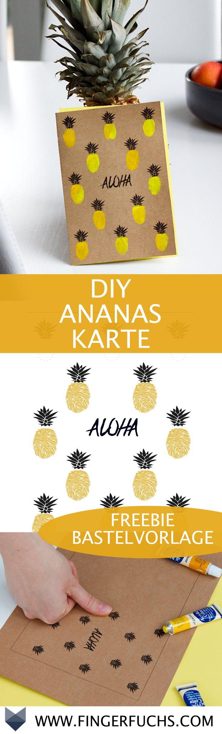 DIY Tropische Ananas Karte – Karten selber machen Vorlagen – Los Fatmos