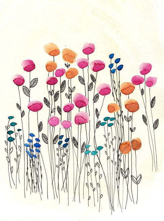 Watercolor Wildflowers  8x10 or 5x7 Original by SarahWormann, $27.00