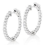 Diamond Hoops 14K Gold Inside Out Diamond Hoop Earrings for Women 2.5ct