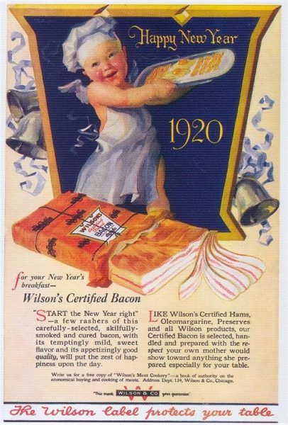 A bacon New Year from 1920 One of the better ways to celebrate the arrival of what looks like being a challenging year. Let's work towards being kinder towards everyone. Apart from Trump, all the other Nazis and the Brexit fire-starters that is... https://salutethepig.com/a-bacon-new-year-from-1920/