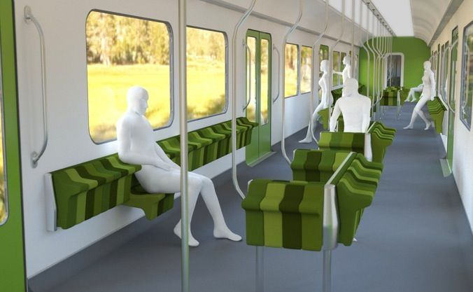 Layout of interior of train. Design and image courtesy of Jun Yasumoto