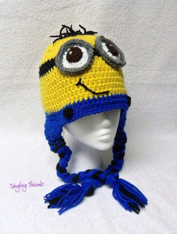 Crochet Hat Minion for Adult Woman/Man/Teen, Despicable Me Hat, Minion Hat, Funny Hat, Character Hat, Earflap Hat