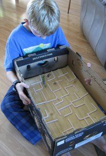 "Box Top Mazes - My daughter made these for her HexBugs to ""race"" through..."