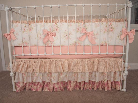 Vintage Floral Shabby Chic Rose Pink and Ivory Baby Girl Crib Cot Bedding