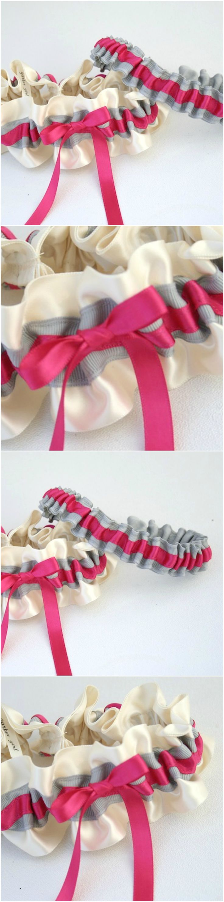 Custom Ivory, Gray and Hot Pink Wedding Garter Set-by The Garter Girl
