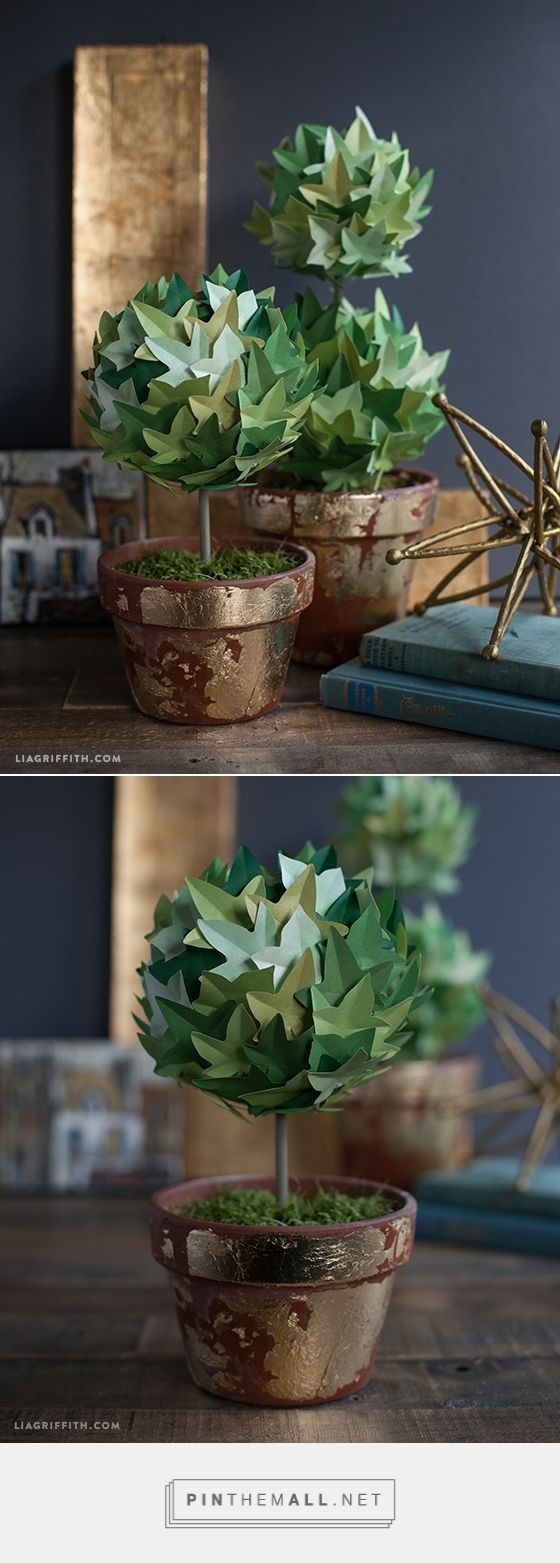 DIY Paper Ivy Topiary  - free pattern and tutorial.  More inspiration and freebies at www.liagriffith.com
