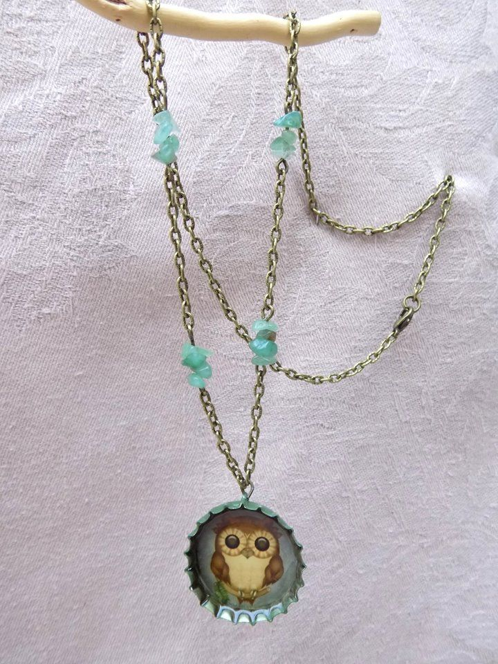 "Big Eye  --    Cute, giant eyed owl necklace complemented with aventurine stones, because I just can""t get tired of the owl motifs"
