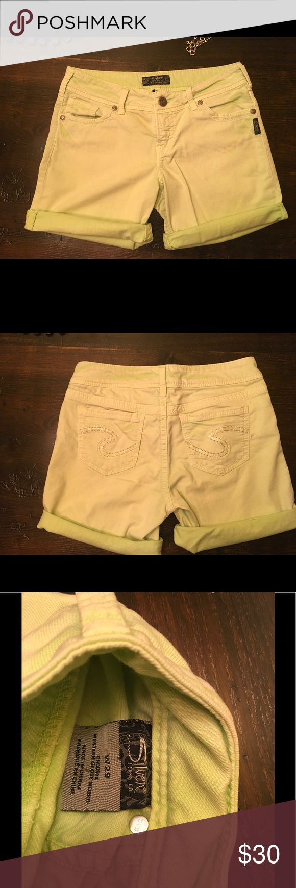 Silver Jeans Suki Lime Green Shorts Size 29 I bought last year and only wore a couple of times. The lime green color has a natural distressed washed look to it which is adorable.  No trades but feel free to make offer 😀 Silver Jeans Shorts Jean Shorts