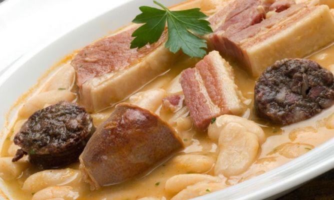 Receta de Fabada con chorizo, morcilla y panceta. Ingredientes - Para 4-6 personas: 500 gr. de fabes 2 chorizos 2 morcillas 100 gr. de jamón 200 gr. de panceta curada 1 cebolla 2 dientes de ajo agua sal perejil (para decorar)