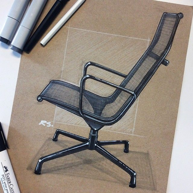 Ok no longer on vacation, time to get back to sketching. Finished up my Eames set with this aluminum lounge chair. #eames #id #idsketching #sketching #sketch #industrialdesign #productdesign #design #chair #drawing #instaart