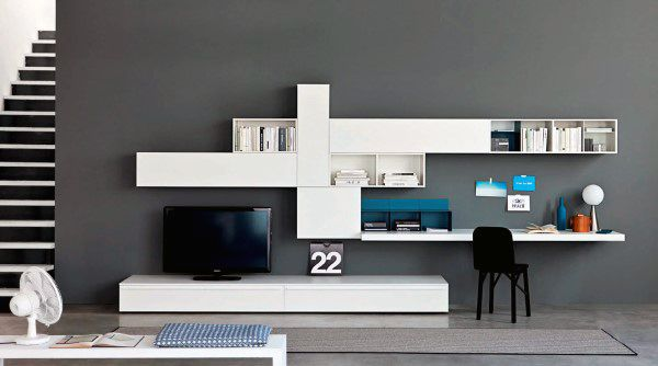 Modern Tv Stand With Desk Wall Unit Small Home Office Ideas