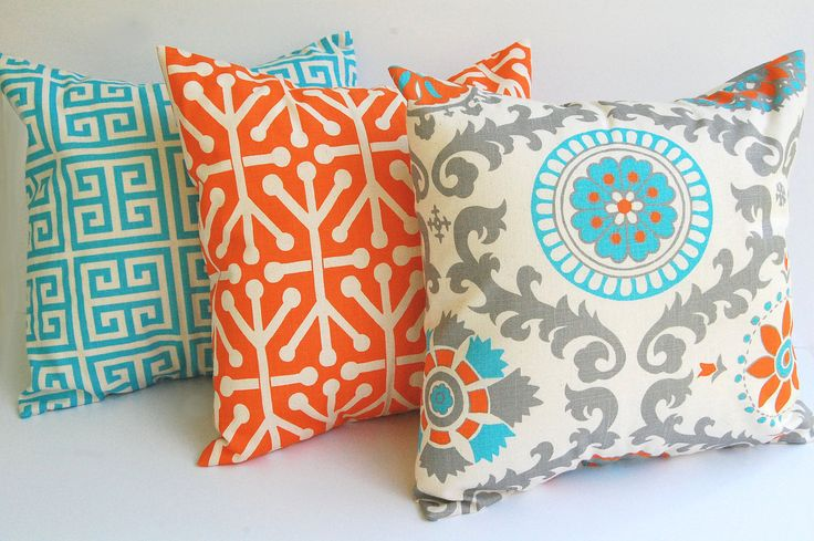 "Throw pillow covers set of three 20"" x 20"" cushion covers Orange Natural Aqua Blue Gray pillows orange pillows"