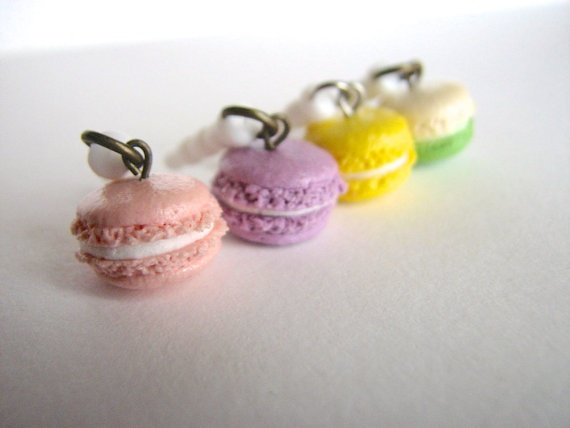 Macaron dust plug for cell phone handmade clay pluggy by xunnux, $7.90