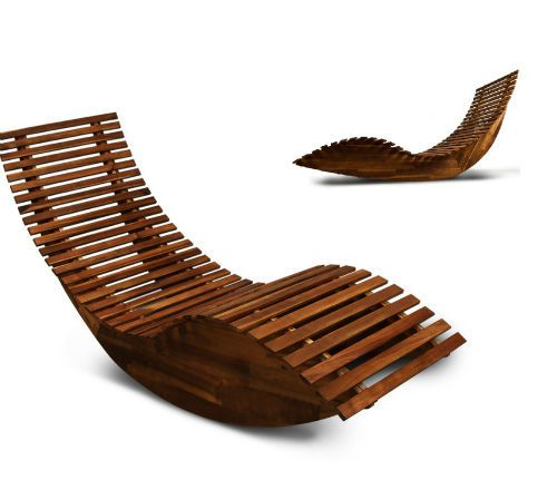 Wooden Sun Lounger Patio Rocking Chair Garden Sunbed Hardwood Sauna Seat  Relax #OutdoorFurniture