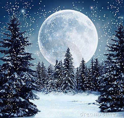 Wonderful view of a winter scene at night with full moon