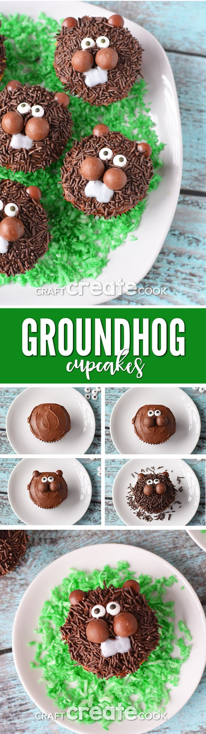 No matter what the prediction, these Groundhog Day Cupcakes will bring a smile to your family!  via @CraftCreatCook1