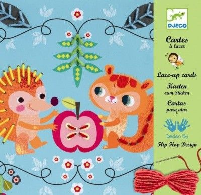 Friends Lace Up Cards You will find it fantastic to help your young children with hand-eye coordination and is a great creative toy to introduce the world of sewing! The set includes 4 large cards with pre-pinched holes, 1 round ended needle, 2 needle threaders, 4 balls of coloured wool and one beautifully illustrated booklet to complete the animal themed pictures.  Box Size: 23.5 x 23 x 4.5cm