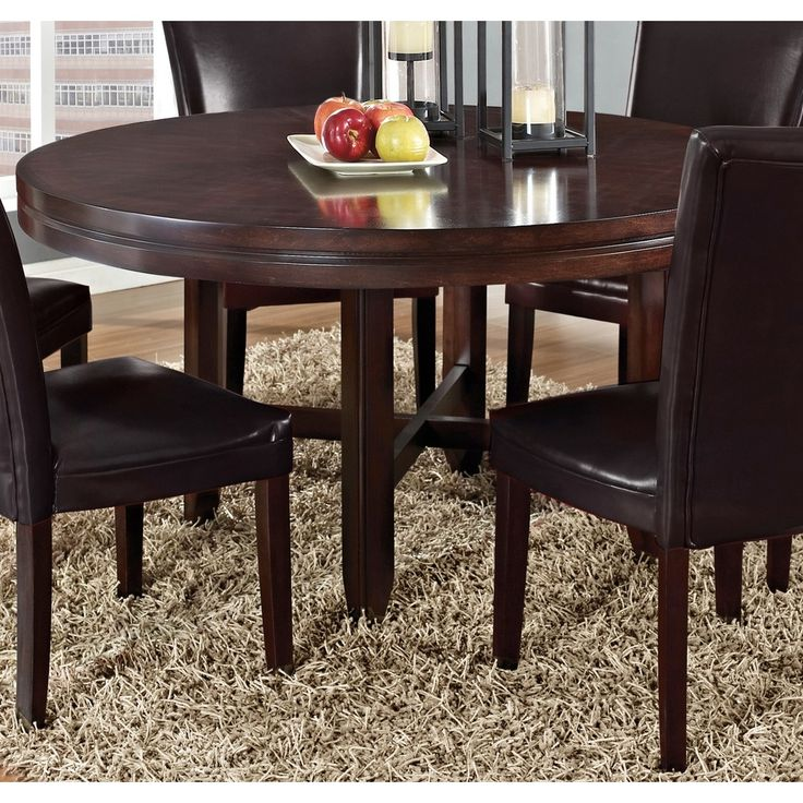 Greyson living hampton dark brown cherry 62 inch round for Dining table set deals