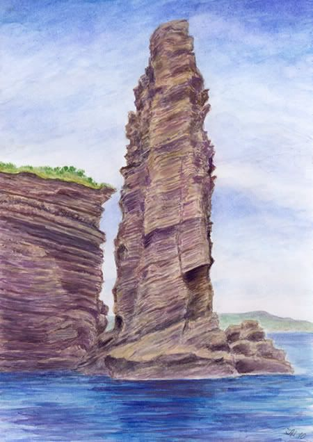 Rocks on the coast San Miguel - Azoren, watercolor and pastel by Jana Haasová