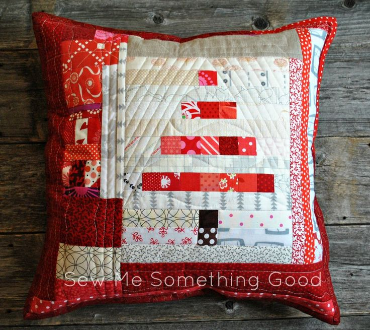 Sew Me Something Good: Scrappy Mini Tree Pillow in Red