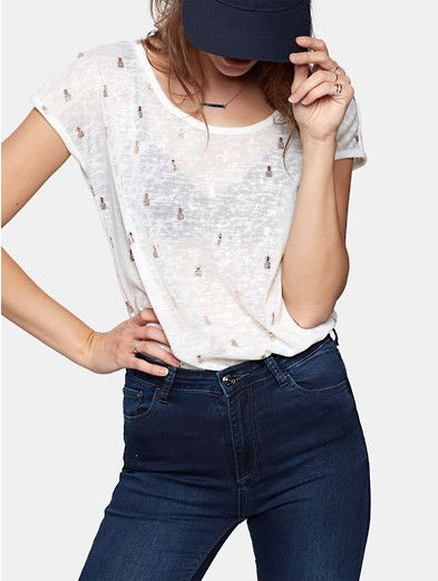 t-shirt met zomerse print wit
