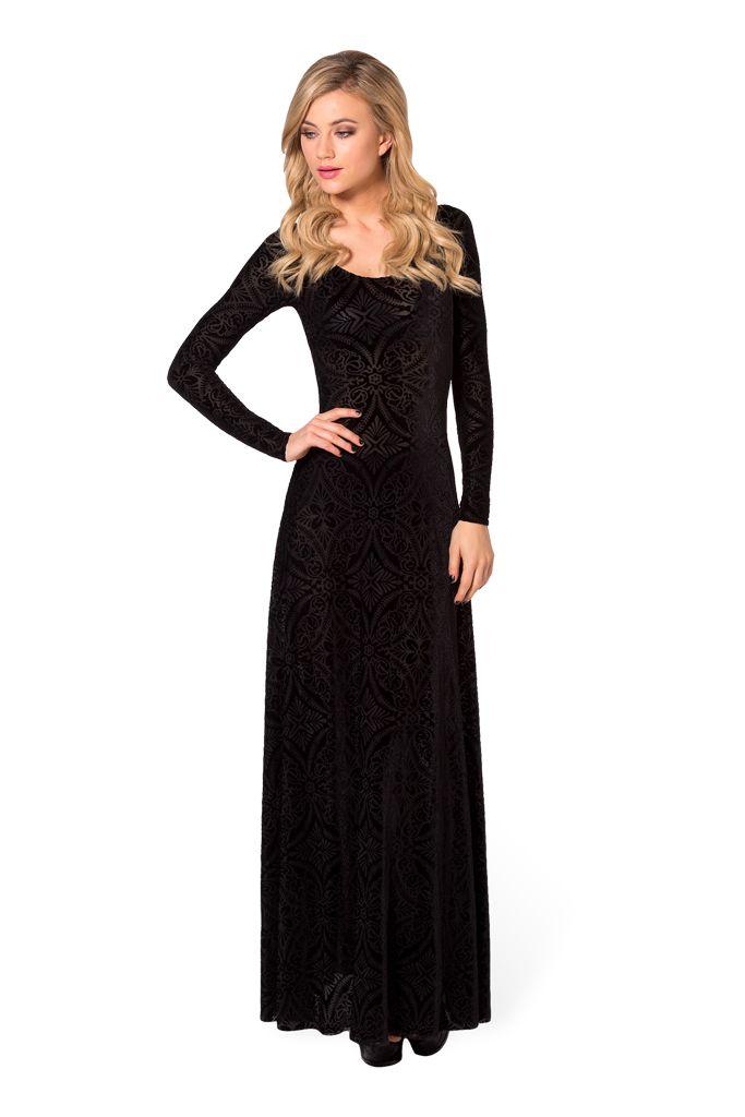 #129 S Burned Velvet Long Sleeve Maxi Dress by Black Milk Clothing (WW - Robby) returned