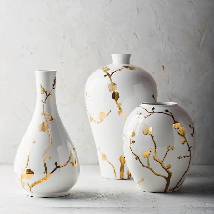 Gilded Blossoms Ceramic Vase Collection Ceramic Vase Pottery