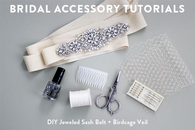 Bridal tutorials: DIY birdcage wedding veil + jeweled sash belt