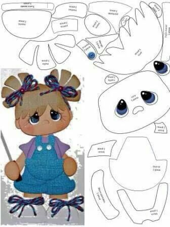 Little Girl Template - Use for paper piecing, foam, felt... >Lots of templates on this site!!