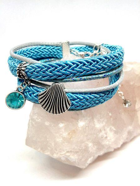 Wickelarmbänder - Armband türkis grau silber Muschel Glitzer - ein Designerstück von Oase-der-Perlen bei DaWanda