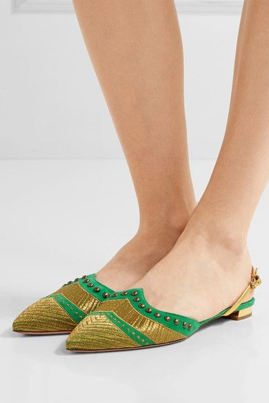 Aquazzura | Marrakech embellished suede point-toe flats | NET-A-PORTER.COM