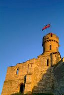 A Union Jack flies proudly from the observatory tower of Lincoln Castle