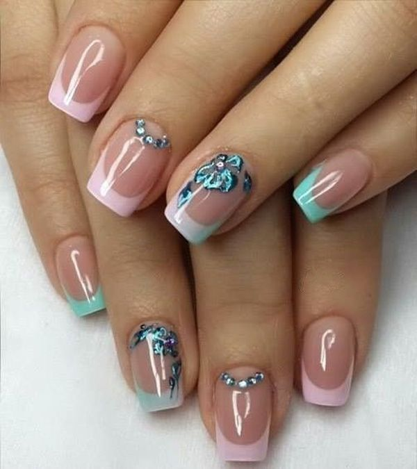 Pink and blue green French tips. Paint on attractive nail polish coats for your French tips and add neon colored flower details on top. You can also add silver beads on the cuticles to enhance the dazzling effect.
