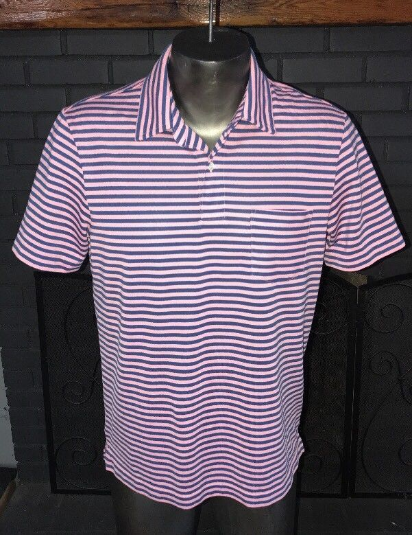 f07b8c7db6 Vineyard Vines Golf Performance Polo Shirt Pink Blue Striped Men's Size  Medium #VineyardVines #PoloRugby