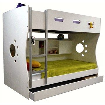 Turnbull White King Single Bunk Bed with Trundle