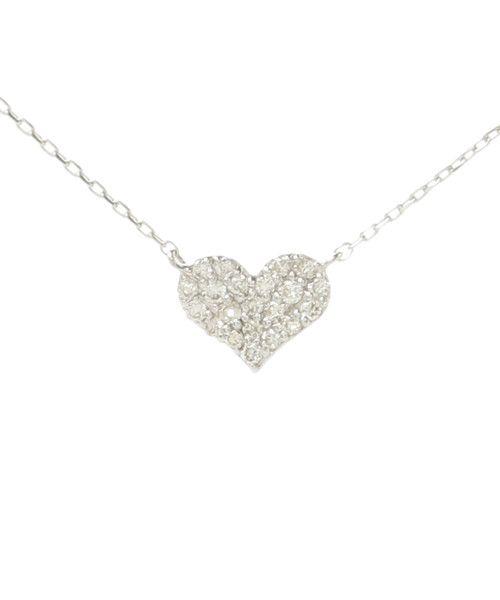 Samantha Tiara  パーフェクトハート インフィニティ  ¥54,000   K18WG(ロジウムコーティング)/ダイヤモンド(0.11ct)  40cm(40):ペンダントヘッド:縦0.6cm/ペンダントヘッド:横0.7cm/全長37cm/アジャスター3.5cm  永遠の定番、黄金比のハートモチーフに敷き詰められたダイヤモンドがキラキラと輝きを放ち、華奢な中にも存在感を放つアイテム。横から見ると、永遠を意味する∞(無限大)の形になっており、その波打つようなしなやかなフォルムで、ダイヤモンドがさらに輝きを増します。
